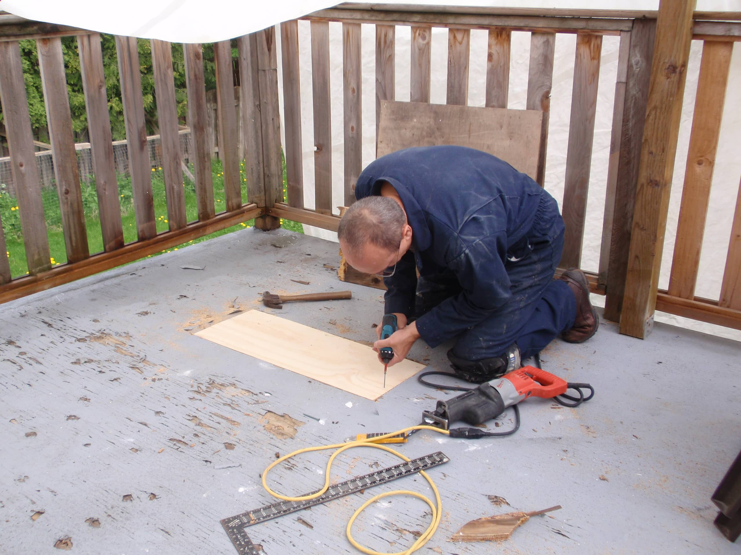 Patching a hole in a wooden deck